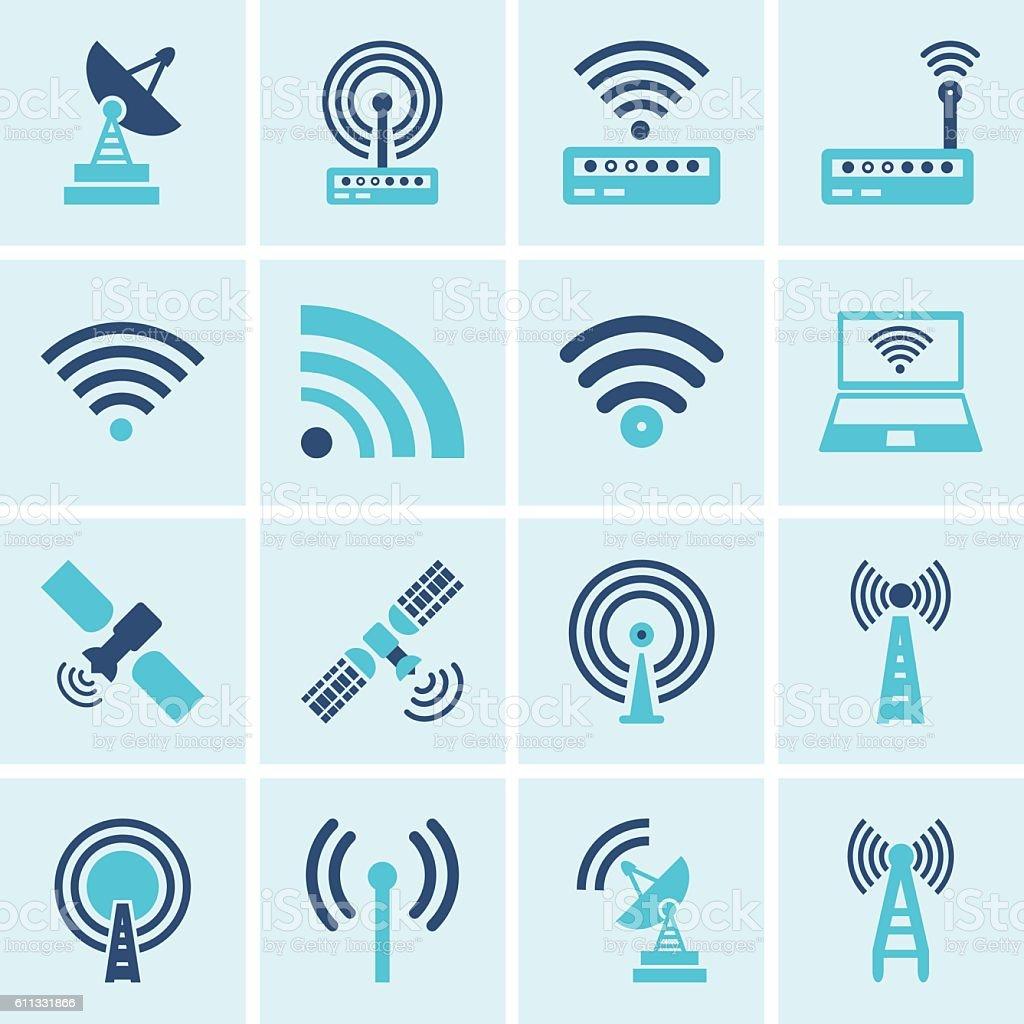 Vector  wireless icons set vector art illustration