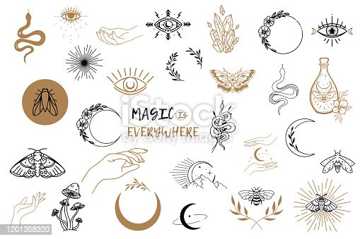 istock Vector witch magic design elements set. Hand drawn, doodle, sketch magician collection. Witchcraft symbols. Perfect for tattoo, textile, cards, mystery 1201358320
