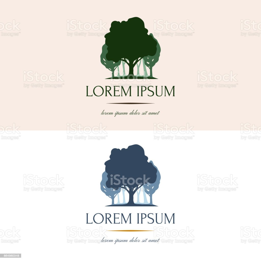 Vector with silhouette of a tree and forest. Concise and clear nature logotype, emblem for your company, business vector art illustration