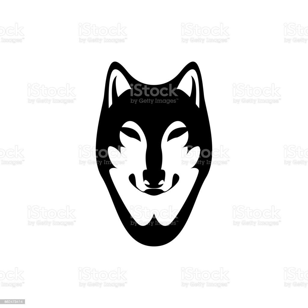 vector wolf head face for retro s emblems badges labels template and