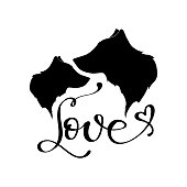Vector wolf sihlouette and hand letters. Two wolf and lettering Love for design shirt, fashion, cards, prints.
