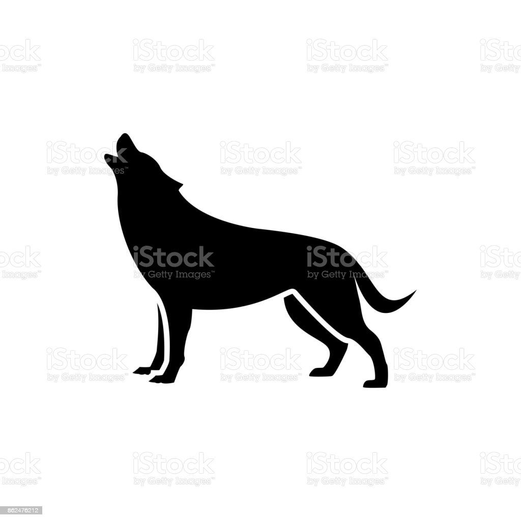 vector wolf silhouette view side for retro s emblems badges labels template vintage