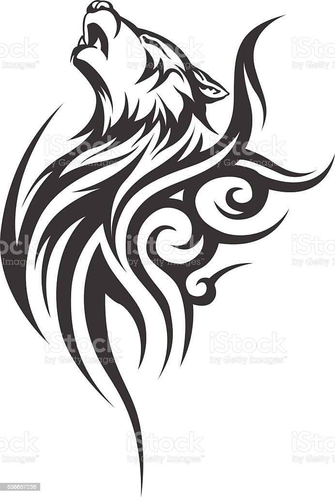 Ilustracja Wektorowa Wilka Tatuaż Męskie Tatuaż Damskie