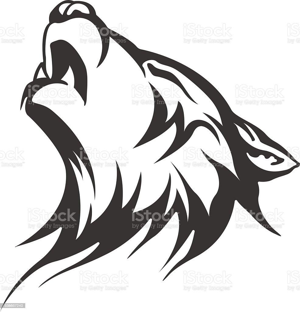 Vector wolf tattoo. Men's tattoo. Women's tattoo. vector art illustration