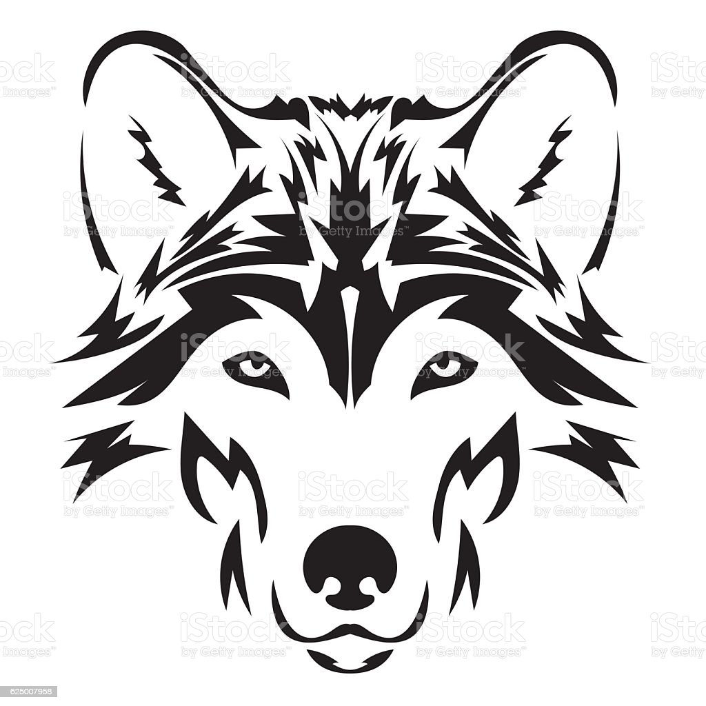 Vector wolf's head as a design element on isolated background vector art illustration