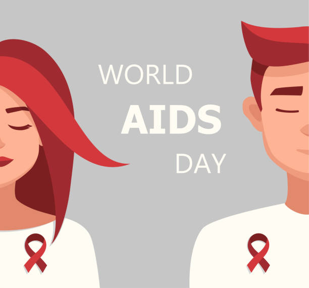 vektör kadın ve adam kırmızı kurdele dünya aids günü illüstrasyon - aids stock illustrations