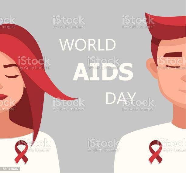 向量婦女和男子紅絲帶世界愛滋病日插畫向量圖形及更多一個人圖片