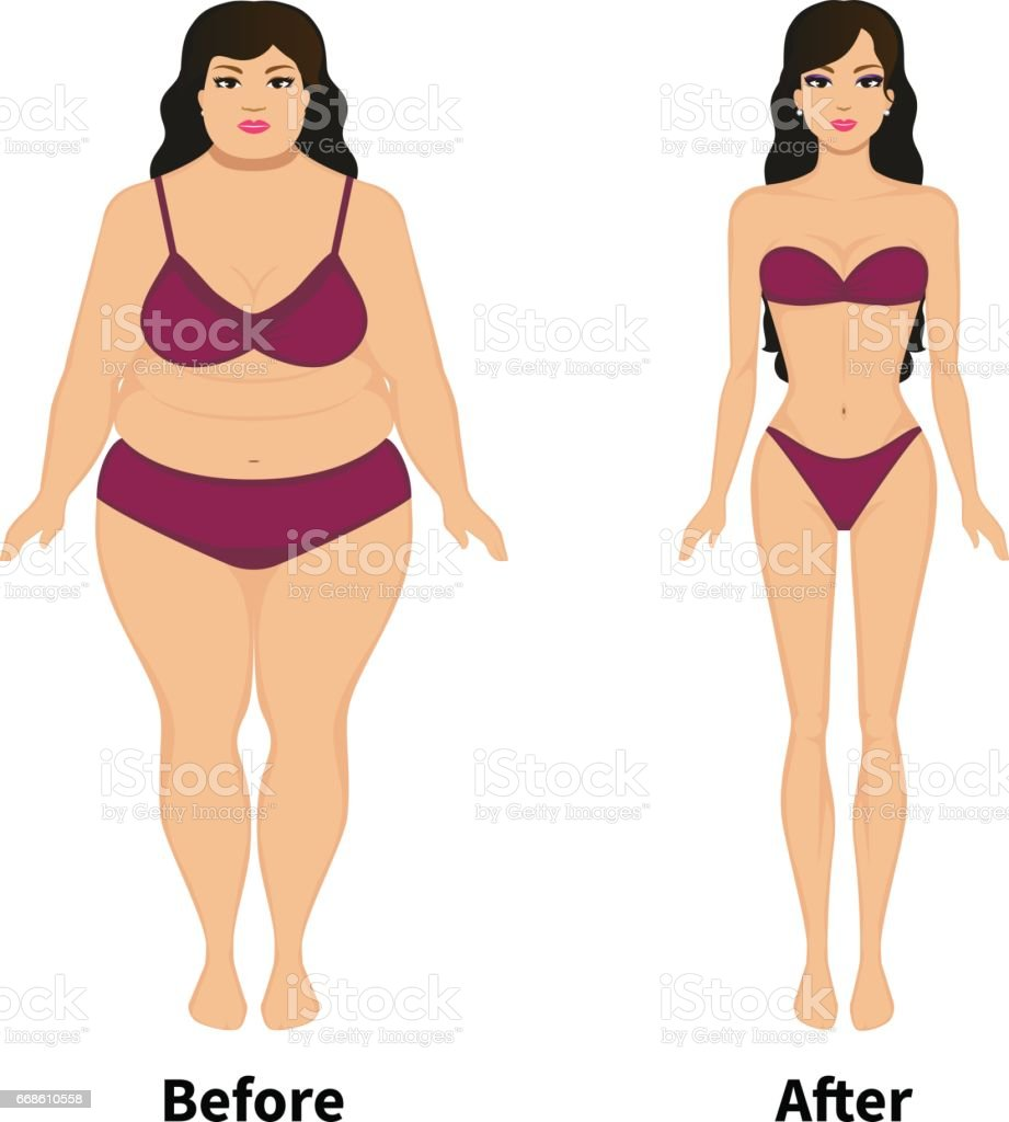 Vector woman before and after weight loss vector art illustration