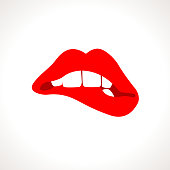Vector Woman Biting Lips Popart Illustration