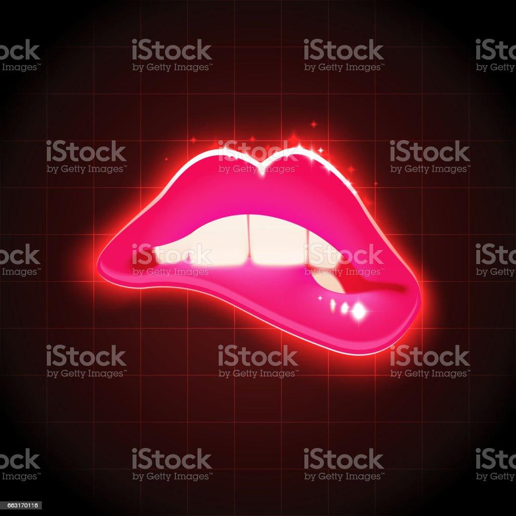Vector Woman Biting Lips Retro Illustration vector art illustration