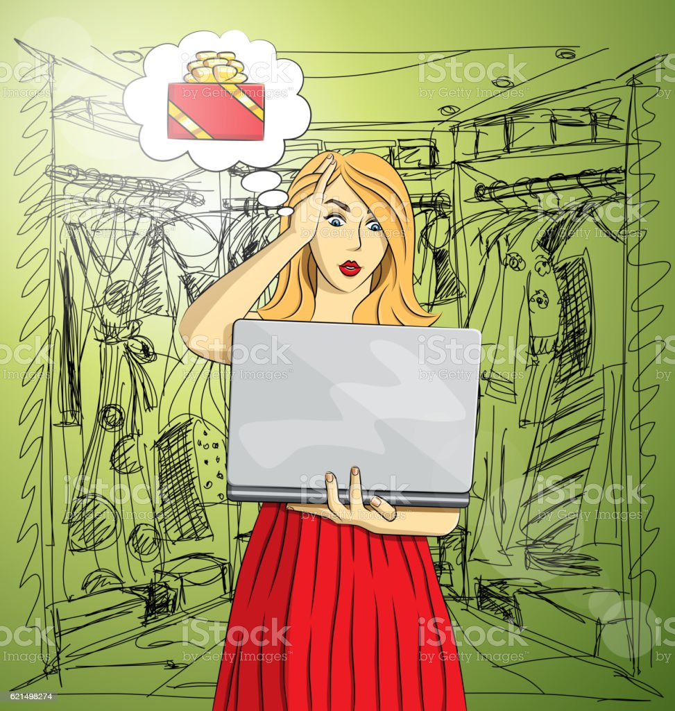 Vector woman buy Christmas gifts online vector woman buy christmas gifts online - immagini vettoriali stock e altre immagini di adulto royalty-free