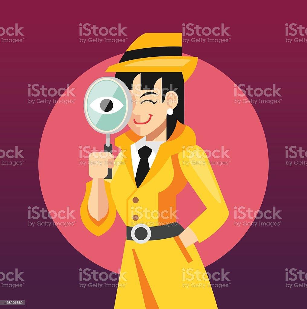 Vector woman detective flat illustration vector art illustration