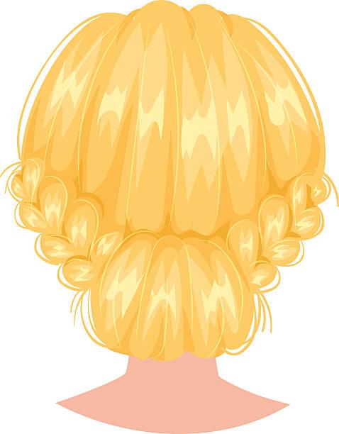 vector woman hairstyle back view - langhaarspitzen stock-grafiken, -clipart, -cartoons und -symbole