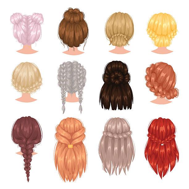 vector woman hairstyle. - langhaarspitzen stock-grafiken, -clipart, -cartoons und -symbole