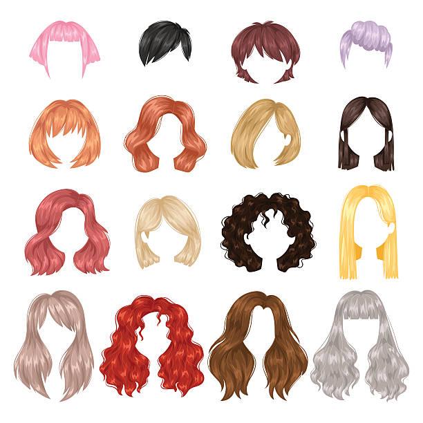 ilustraciones, imágenes clip art, dibujos animados e iconos de stock de vector woman hairstyle. - peinado