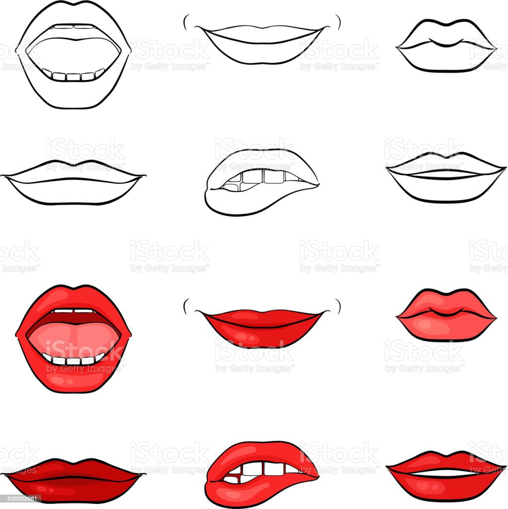 Vector woman lips and mouth silhouettes vector art illustration