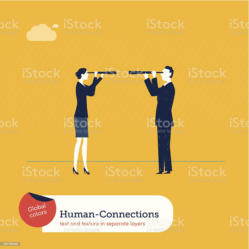Vector Woman Looking at a Man with a spyglass vector art illustration