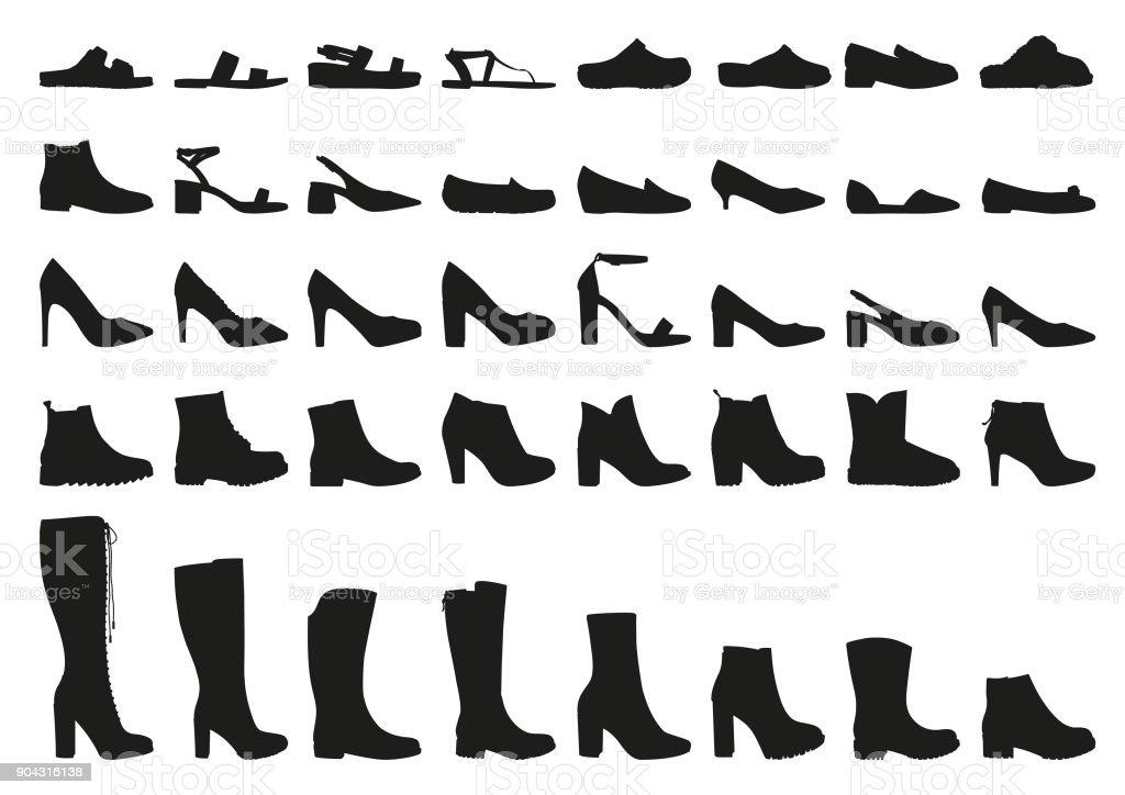 Vector woman shoes icons set vector art illustration