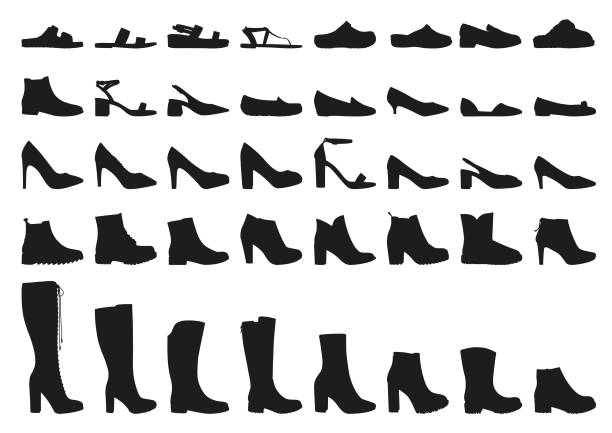 vector woman shoes icons set - shoes fashion stock illustrations, clip art, cartoons, & icons