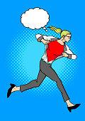 Vector Woman Transform into Superhero while Running