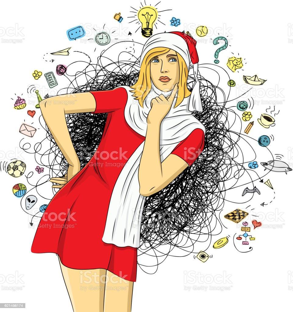 Vecteur femme en attendant Noël vecteur femme en attendant noël – cliparts vectoriels et plus d'images de adulte libre de droits