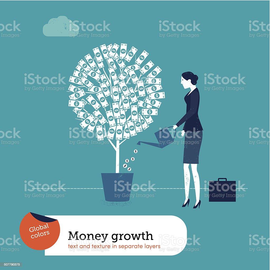Vector Woman Watering Money Plant vector art illustration