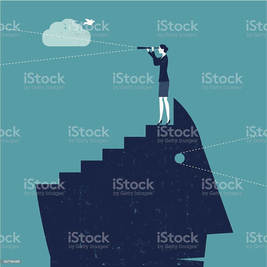 Vector Woman with Telescope on top of Head vector art illustration