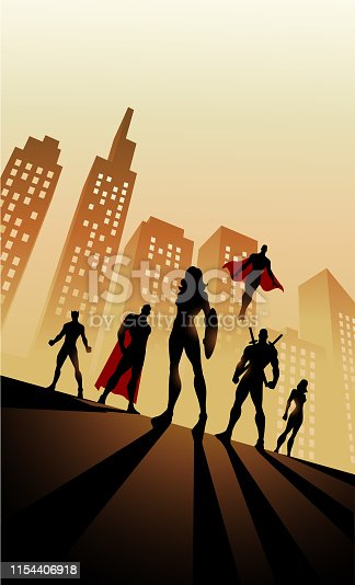 A silhouette style illustration of a team of superheroes with female leaders with city skyline in the background. Easy to edit. Wide space available for your copy.
