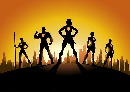 Vector Woman-Led Superhero Team Silhouette