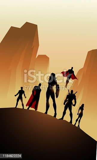 A silhouette style illustration of a woman-led team of superheroes with mountain in the background. Wide space available for your copy.