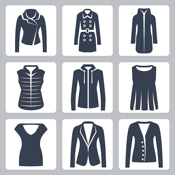 女性服アイコンベクトルのセット - ダウンジャケット点のイラスト素材/クリップアート素材/マンガ素材/アイコン素材