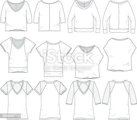 Vector Womens Wear Garment Templates Stock Vector Art & More Images ...