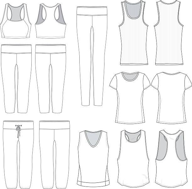 stockillustraties, clipart, cartoons en iconen met vector women's wear templates - korte mouwen