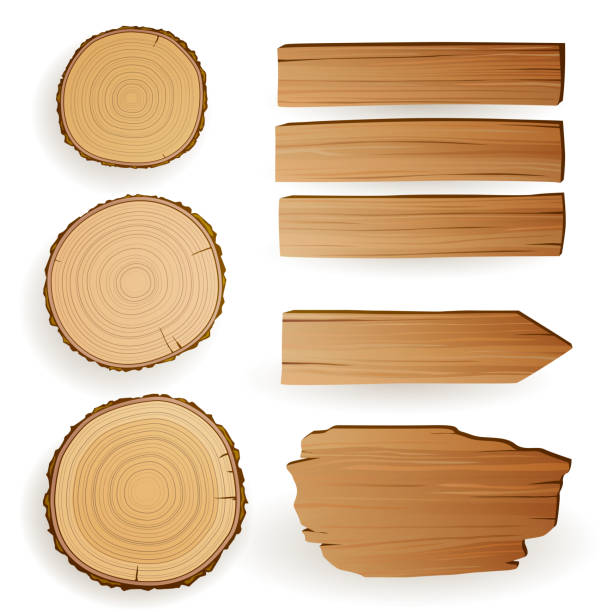 Vector Wood Elements vector art illustration