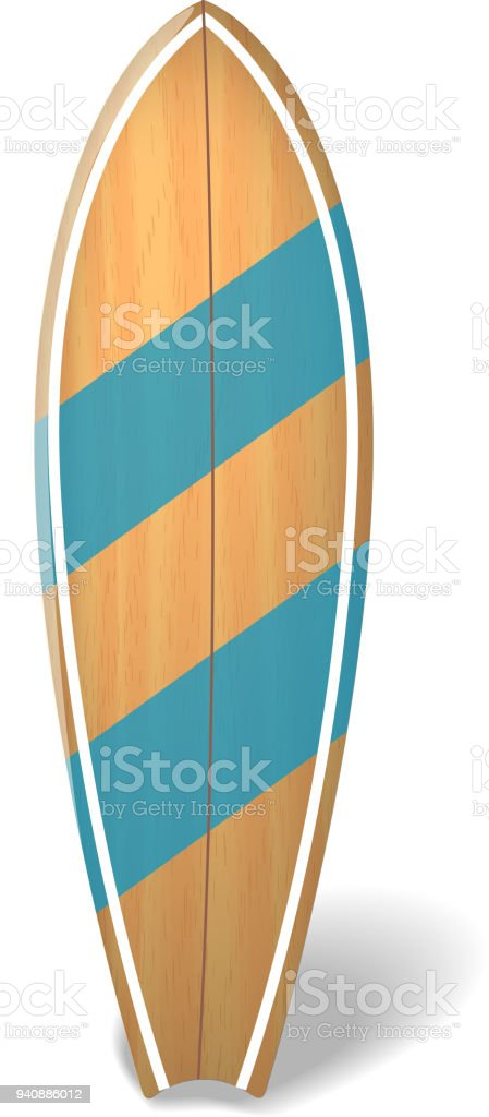 Vector wood surf board Summer Surfing Isolated realistic surfboard. vector art illustration
