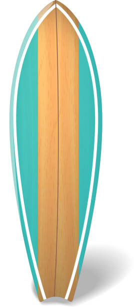 Vector wood surf board Summer Surfing Isolated realistic surfboard. Wood surf board Summer Surfing Isolated realistic surfboard. Vector illustration surfing stock illustrations