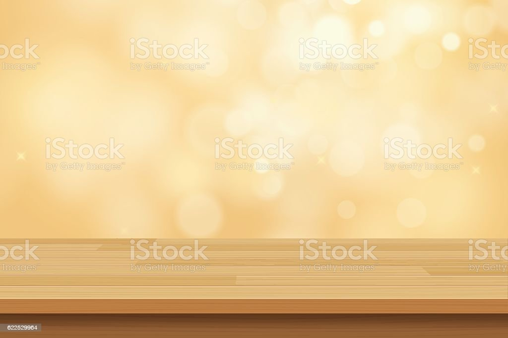 vector wood table top on golden bokeh abstract background vector art illustration