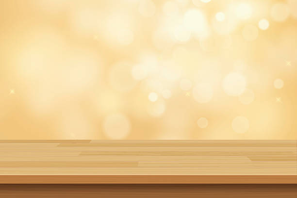 illustrazioni stock, clip art, cartoni animati e icone di tendenza di vector wood table top on golden bokeh abstract background - tavolo legno