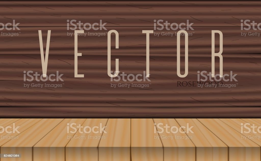 vector wood table top on rosewood background vector art illustration