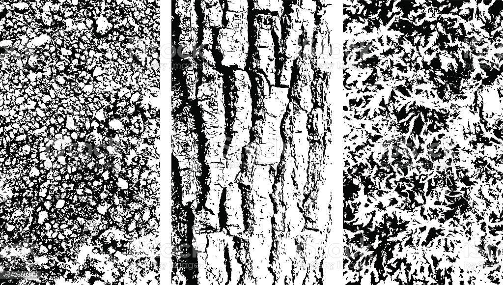 Vector wooden bark, stone and moss texteres - ilustração de arte em vetor