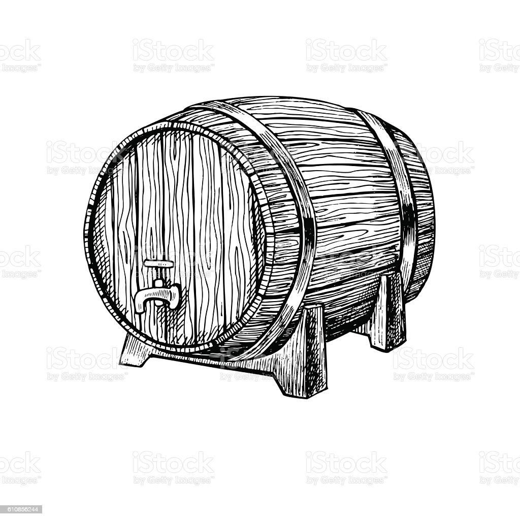 Vector wooden barrel. Hand drawn vintage  illustration in engrav vector art illustration
