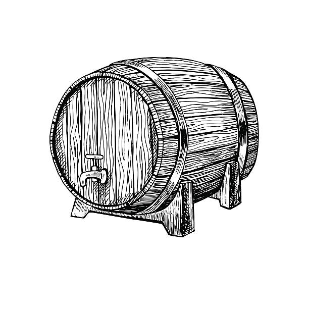 vector wooden barrel. hand drawn vintage  illustration in engrav - 배럴 stock illustrations