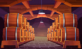 Wood barrels for wine or beer in cellar. Cask from oak wood on stand in storage room of brewery or winery. Vector realistic interior of basement with keg for whiskey, rum or cognac