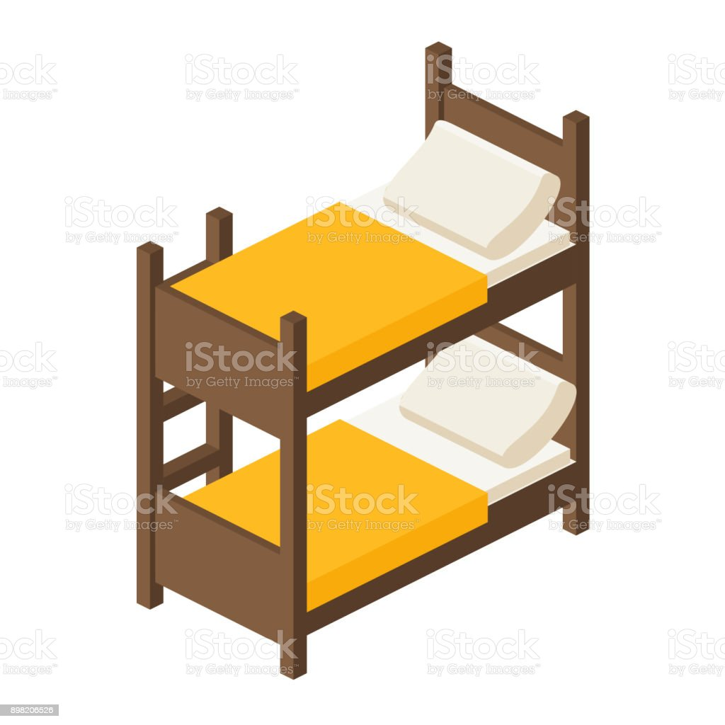 Vector Wooden Bunk Bed For Children In Isometric Stock Illustration Download Image Now Istock