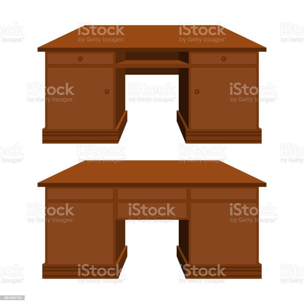 Vector wooden desk in perspective