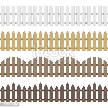 Different types seamless wooden fence. Set of garden fences isolated on white background. Wood boards silhouette construction in flat style. Vector illustration. EPS 10.