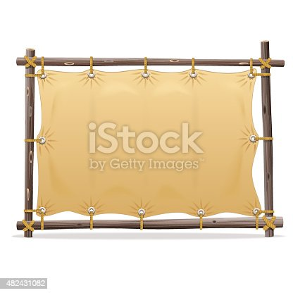 Vector wooden frame with canvas for text isolated on white background
