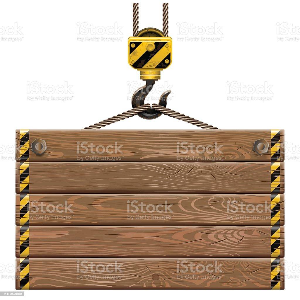 Vector Wooden Frame with Crane Hook vector art illustration