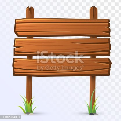 Vector wooden guidepost on transparent background. Old signboard