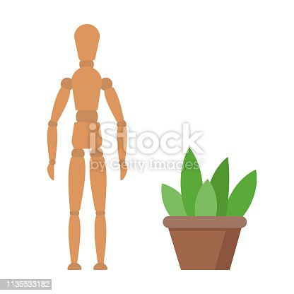 Vector wooden manikin for drawing and art. Dummy isolated on white background. Model for artist.